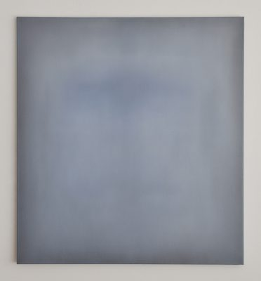 o.T. (white, lamp black and indanthren blue), 110 x 100 cm, Öl auf Leinwand, 2017