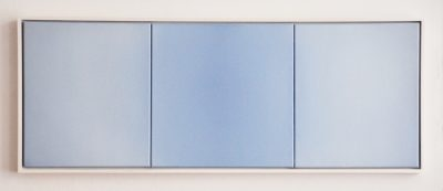 triptych in white and blue, 40 x 110 cm, Öl auf Leinwand, X 2017