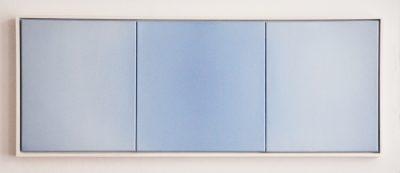 triptych in white and blue, 40 x 110 cm, Öl auf Leinwand, X 2017