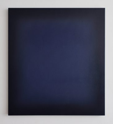o.T. (indigo and indanthrenblue), 100 x 90 cm, Öl auf Leinwand, X 2017