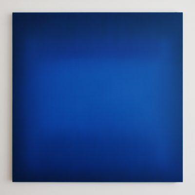 o.T. (bright and dark blues), 110 x 110 cm, Öl auf Leinwand, IV-2018