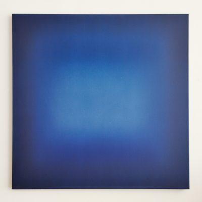 o.T. (blue square), 100 x 100 cm, Öl auf Leinwand, V-2018