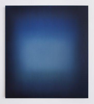 middle bright blue and green / Floating, 100 x 90 cm, Öl auf Leinwand, V-2021